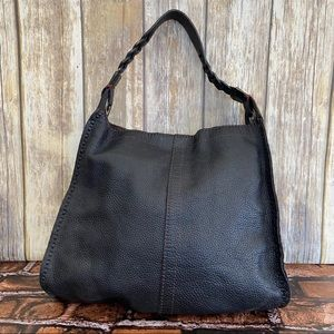 Lucky Brand Black Pebbled Leather Hobo Tote